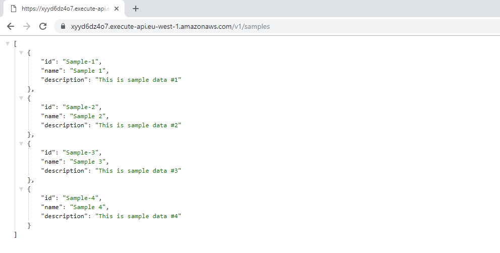 testing the service with an example call